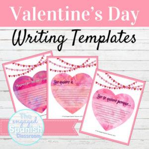 Spanish Valentine's Day Class Decor Writing Prompts